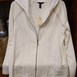 Soma by chicos White zip up jacket with hood, S